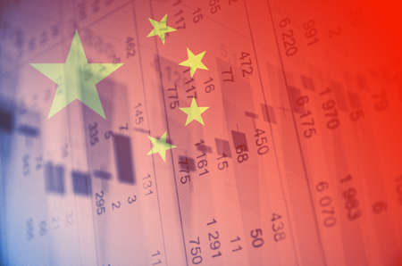 stock quotes: China flag, with the financial data in the background.