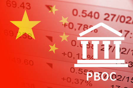 Building icon with inscription PBOC. China flag, with the financial data in the background.