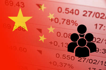 ticker: Group of people icon. China flag, with the financial data in the background.