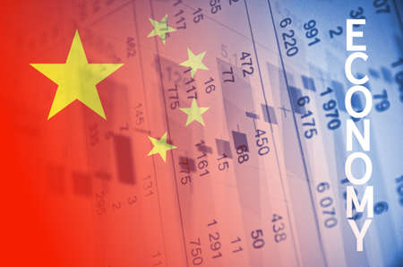 numbers clipart: Inscription Economy. China flag, with the financial data in the background.