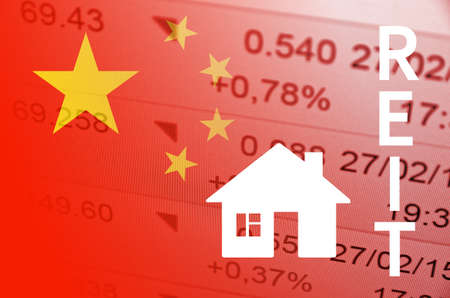 bias: China housing market. China flag, with the financial data in the background. Stock Photo