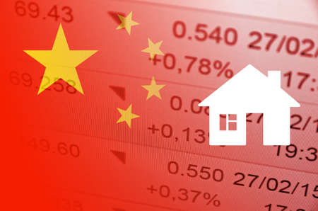 housing market: China housing market. China flag, with the financial data in the background. Stock Photo