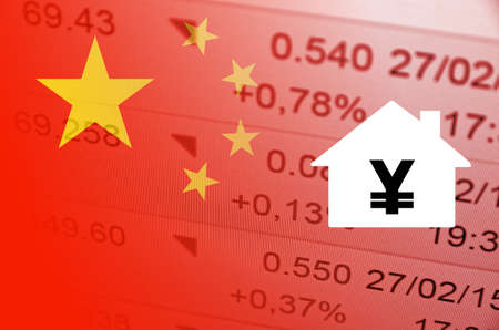 House icon with yuan symbol. China flag, with the financial data in the background.