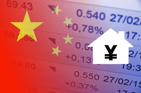 multiple exposure: House icon with yuan symbol. China flag, with the financial data in the background.