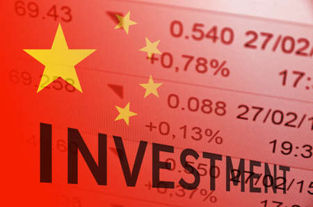bias: Inscription Investment. China flag, with the financial data in the background.