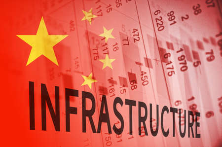 numbers clipart: Inscription Infrastructure. China flag, with the financial data in the background.