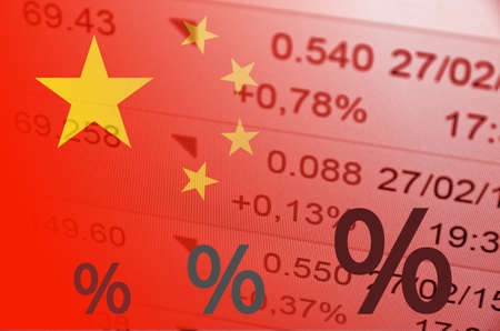 stock quotes: Exclamation points icon. China flag, with the financial data in the background.