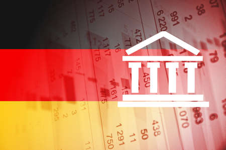 stock quotes: Building icon. Germany flag, with the financial data in the background.