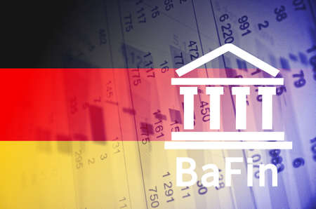 multiple exposure: Building icon with inscription BaFin. German flag, with the financial data in the background. Stock Photo