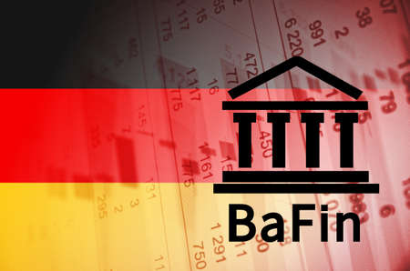 supervisory: Building icon with inscription BaFin. German flag, with the financial data in the background. Stock Photo