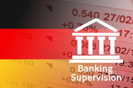 supervision: icono de la construcción con la inscripción de Supervisión Bancaria. bandera alemana, con los datos financieros en el fondo.