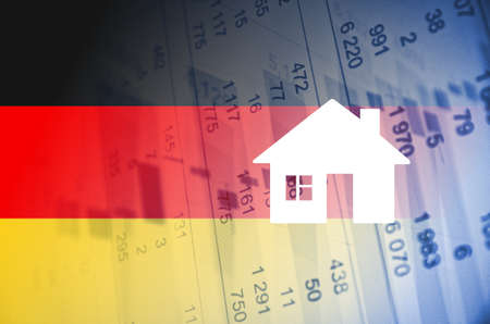 numbers clipart: Building icon. Germany flag, with the financial data in the background.