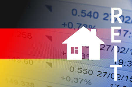multiple exposure: Building icon. Germany flag, with the financial data in the background.