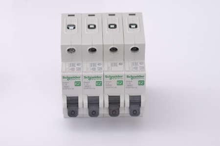 breakers: SARANSK, RUSSIA - JANUARY 13, 2017: Schneider Electric circuit breakers.