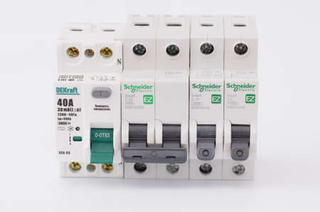 breakers: SARANSK, RUSSIA - JANUARY 13, 2017: DEKraft residual-current device and Schneider Electric circuit breakers. Editorial