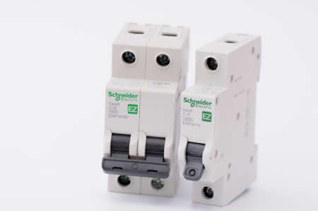 breakers: SARANSK, RUSSIA - JANUARY 13, 2017: Schneider Electric one and two-pole circuit breakers.