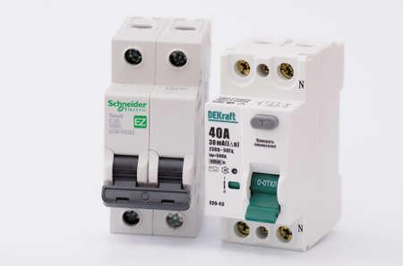 SARANSK, RUSSIA - JANUARY 13, 2017: DEKraft residual-current device, Schneider Electric two-pole circuit breaker. Editöryel