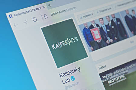 SARANSK, RUSSIA - FEBRUARY 06, 2017: Kaspersky Lab page on Facebook web site. Selective focus. Редакционное
