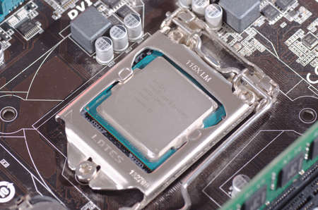 SARANSK, RUSSIA - MAY 14, 2017: Intel Xeon CPU on a computer motherboard. Editorial