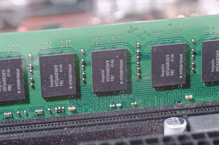 illustrative editorial: SARANSK, RUSSIA - MAY 14, 2017: A memory module with Hynix chips on a computer motherboard. Editorial