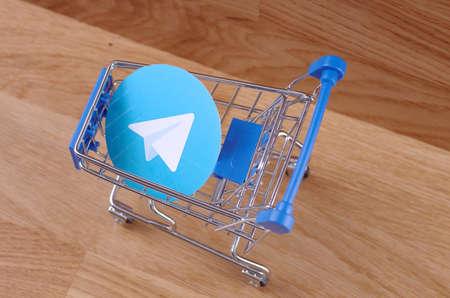 SARANSK, RUSSIA - CIRCA MAY, 2017: Telegram logo on shopping cart.