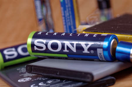 SARANSK, RUSSIA - MAY 28, 2017: Sony AA battery close-up. Editorial