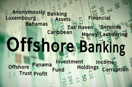 Text Offshore Banking and the list of major offshore jurisdictions. The financial data in the background.