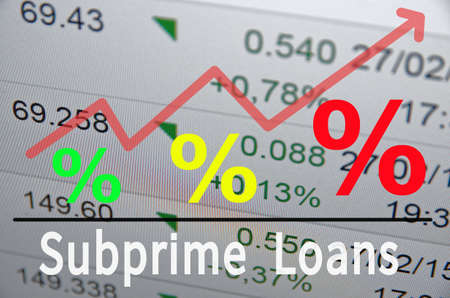 Red Up Trend Arrow with percent symbols and inscription Subprime Loans