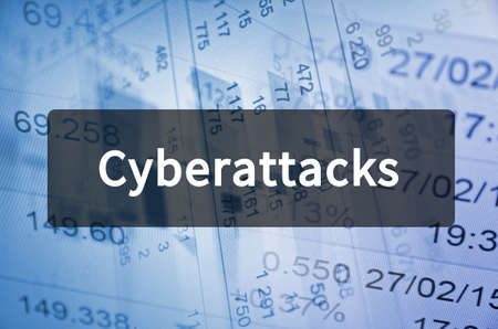 Cyberattacks written on translucent black space Stockfoto