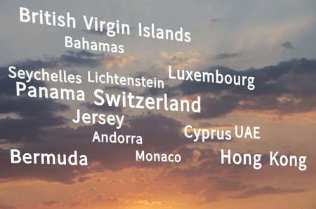 Major offshore jurisdictions. The financial data in the background. Stock Photo