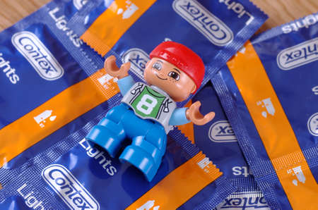 SARANSK, RUSSIA - June 03, 2017: Lego man on Contex condoms.