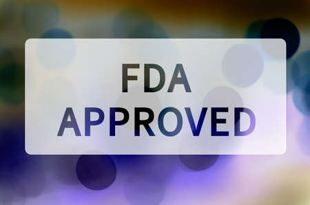 FDA approved written on translucent black space. Stock Photo