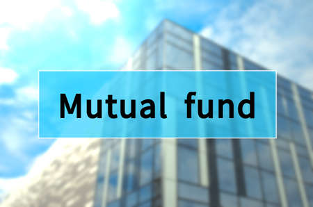 Mutual fund written on translucent blue space. Stockfoto