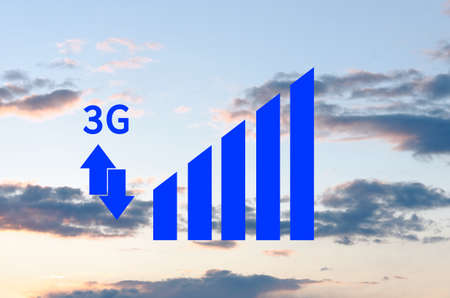 3g: 3G indicator with arrows. Signal strength indicators with the blue sky visible in the background