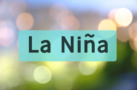 La Nina written on translucent turquois space. Stock Photo