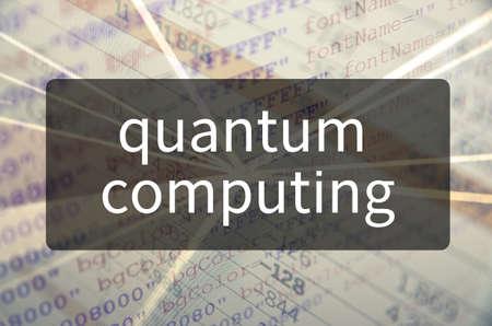 Quantum computing written on translucent black space.