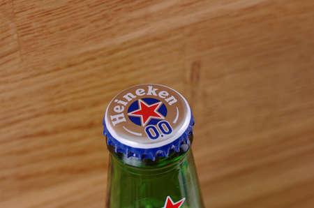 illustrative editorial: SARANSK, RUSSIA - JUNE 07, 2017: Non-alcoholic version of Heineken 0.0 beer.