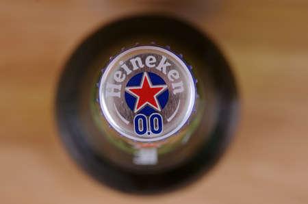 SARANSK, RUSSIA - JUNE 07, 2017: Non-alcoholic version of Heineken 0.0 beer. Top view. Editorial