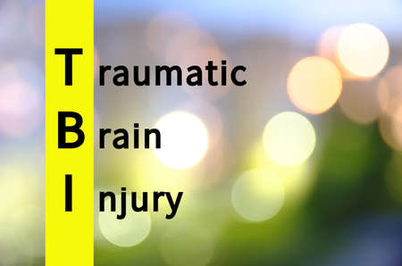 Acronym TBI as Traumatic brain injury Stock Photo