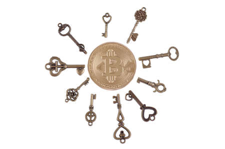 Bitcoin surrounded by ancient keys