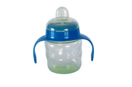 Anti-colic baby bottle isolated on white background.