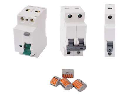 Residual-current device, different circuit breakers and compact splicing connectors isolated on white background. Stok Fotoğraf