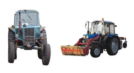 Tractors, era of the Soviet Union isolated on white background. 版權商用圖片