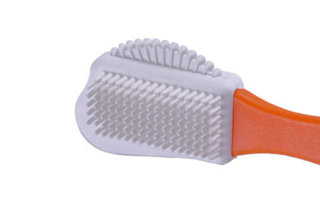 Leather brush cleaner isolated ob white background.