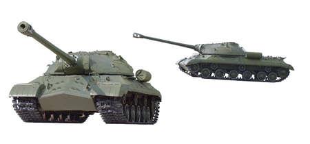 Tank, era of the Soviet Union isolated on white background.