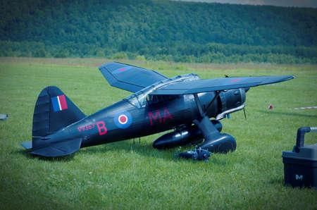 PENZA OBLAST, RUSSIA - JULY 15, 2017: Radio control flying model of Westland Lysander aircraft. The Russian Aeromodelling Cup in Bolshoy Vyas village.