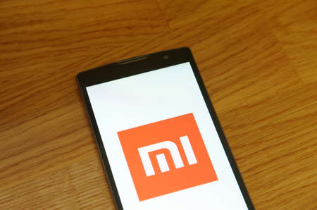 Saransk, Russia - July 23, 2017: A Smartphone screen shows logo of Xiaomi.