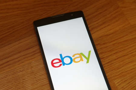 ebay: Saransk, Russia - July 23, 2017: A Smartphone screen shows logo of Ebay. Editorial