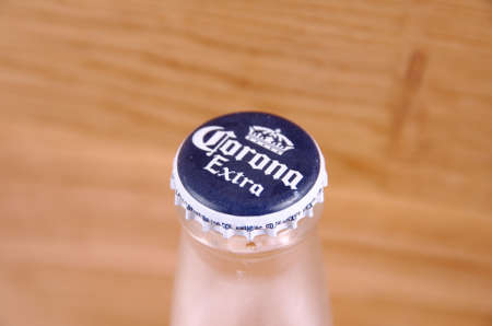 SARANSK, RUSSIA - AUGUST 16, 2017: Cap of Corona Extra beer close up.