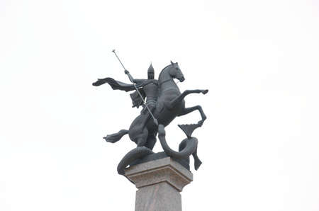 NIZHNY NOVGOROD, RUSSIA - AUGUST 30, 2017: St. George slays the dragon. Photo taken on a overcast day. Editorial
